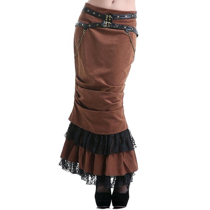 RQ-BL - Falda de Tubo Larga Marrón - L: Amazon.es: Ropa y accesorios
