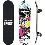 NACATIN Skateboard Completo para Adultos y Niños con Rotamiento 602 y 608 ABEC-9, 92A y 8 Capas de Madera de Arce Monopatin 80x20x11cm, Carga de 180 Kg para Principiantes y Profesionales