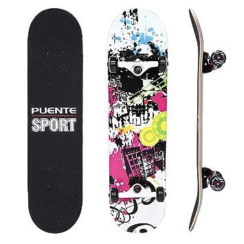 NACATIN Skateboard Completo para Adultos y Niños con Rotamiento 602 y 608 ABEC-9,