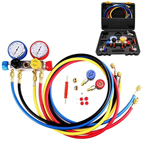 4 Way A C Manifold Gauge Set Fits R134A R410A And R22 Refrigerants With 5 Feet Hose 3 Acme Tank Adapters Adjustable Couplers And Can Tap