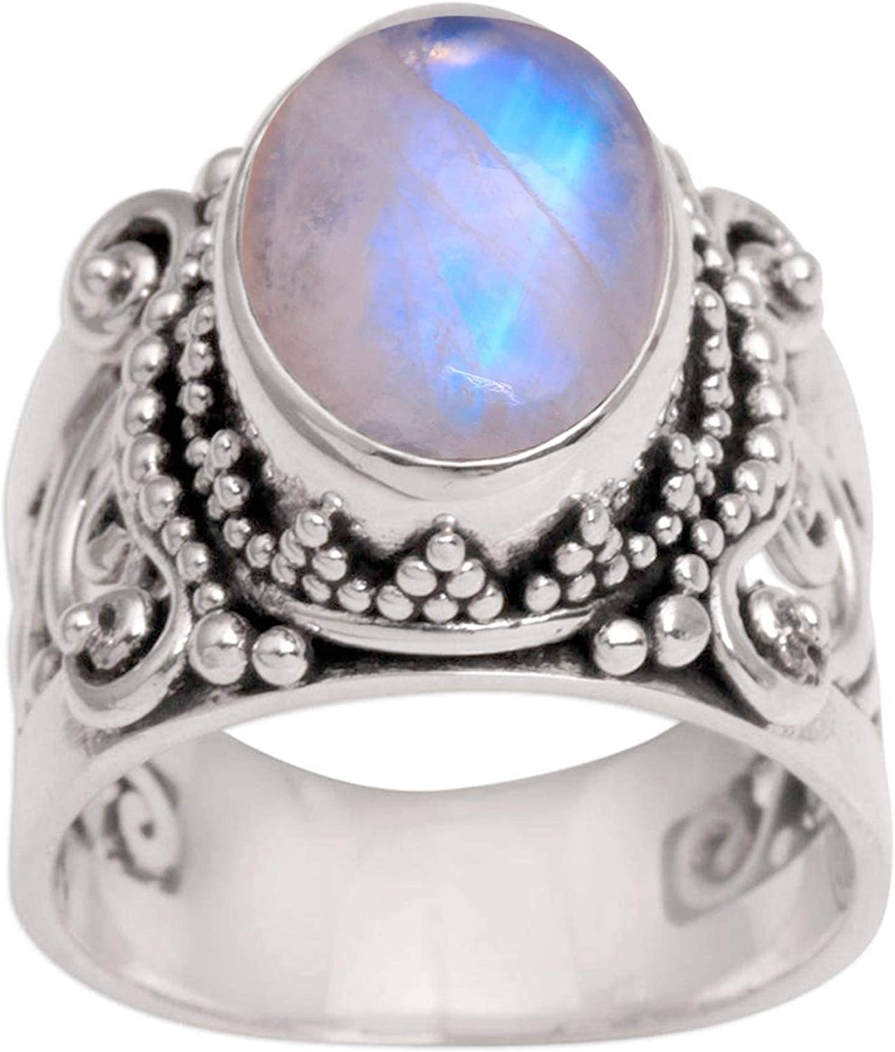 Sterling Silver Ring Rainbow Moonstone Ring 925 Sterling Silver Moonstone Ring Moonstone Silver Ring Ring Size 7.5 Moonstone.