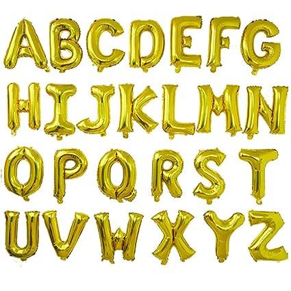 16 shining gold chic style alphabet letter balloons aluminum hanging foil film balloon mylar balloons