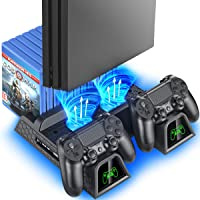 OIVO Regular PS4/ PS4 Slim/ PS4 Pro Cooler, Multifunctional Vertical Cooling Stand, PS4 Controller Charger with LED…
