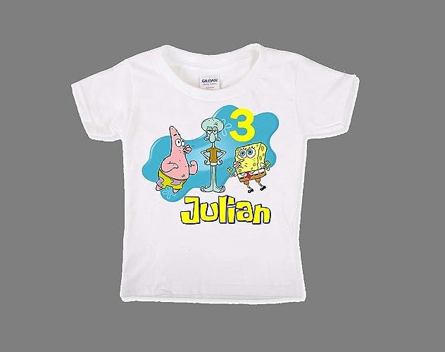Amazon Spongebob Squarepants Birthday Shirt For Boys Personalized