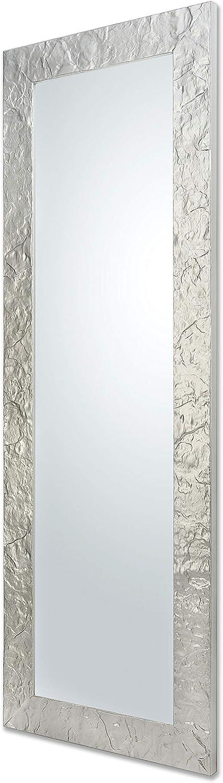 Miroir Mural Moderne avec Cadre en Bois Finition Argent Mesure ext/érieure Cm.50x145qu/é en Italie