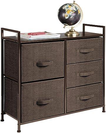 mDesign Cómoda de tela – Estrecho organizador de armarios con 5 cajones – Práctico mueble cajonera para el dormitorio, la habitación infantil o zonas pequeñas – Armario con cajones – marrón café: Amazon.es: Hogar