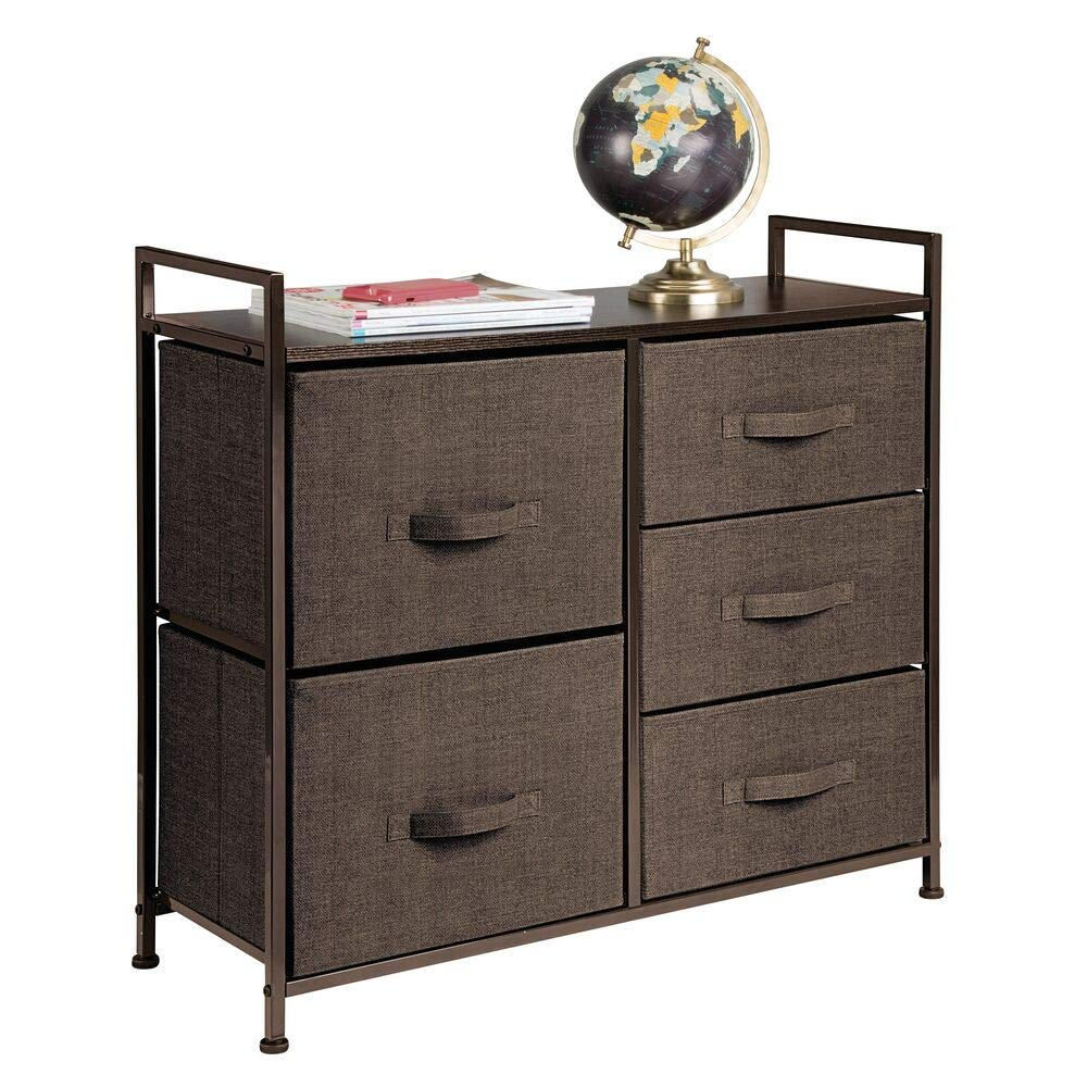 mDesign Wide Dresser Storage Tower - Sturdy Steel Frame, Wood Top, Easy Pull Fabric Bins - Organizer Unit for Bedroom, Hallway, Entryway, Closets - Textured Print, 5 Drawers - Espresso Brown