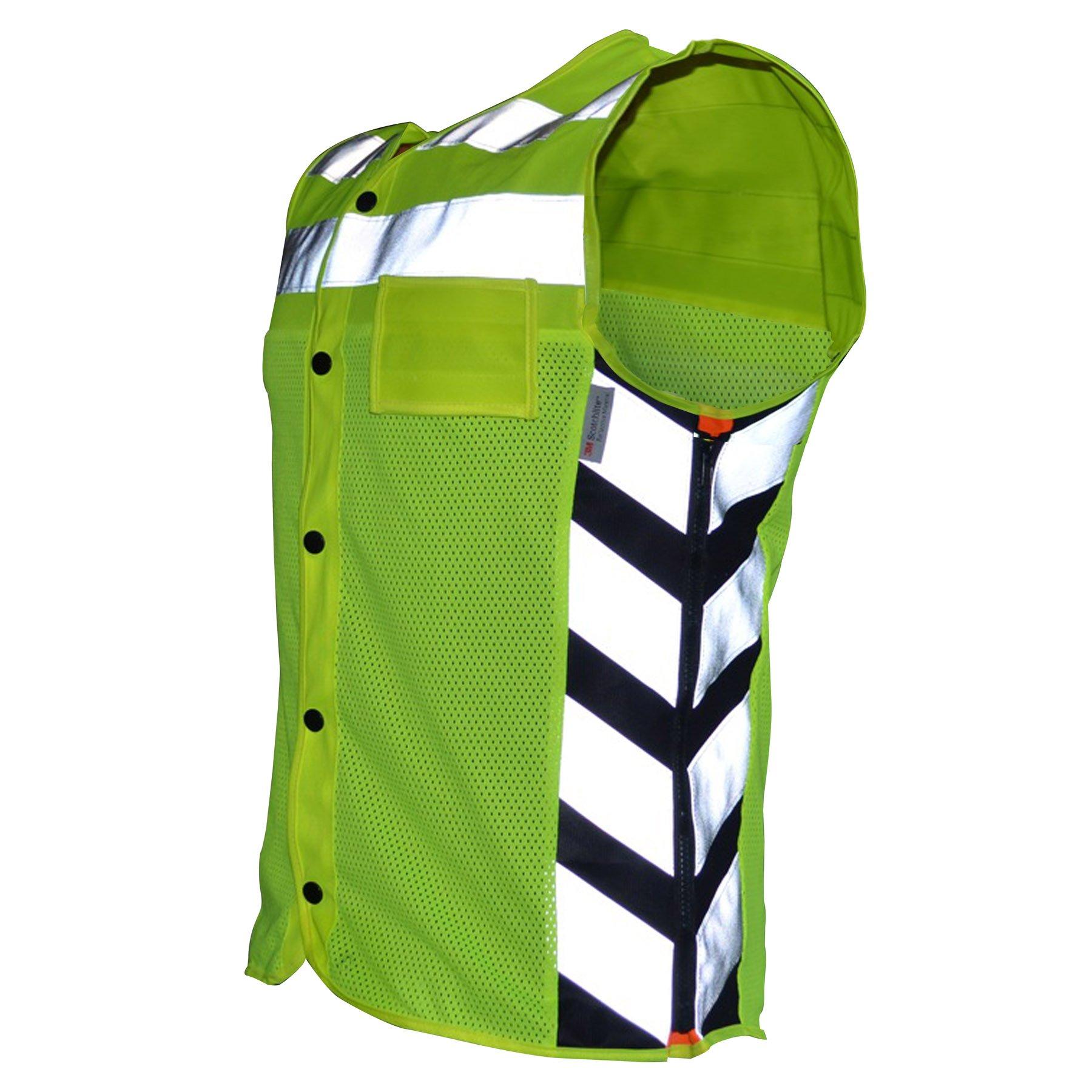 Missing Link Meshed Up Expandable Safety Vest (HiViz Green/Orange, Small)