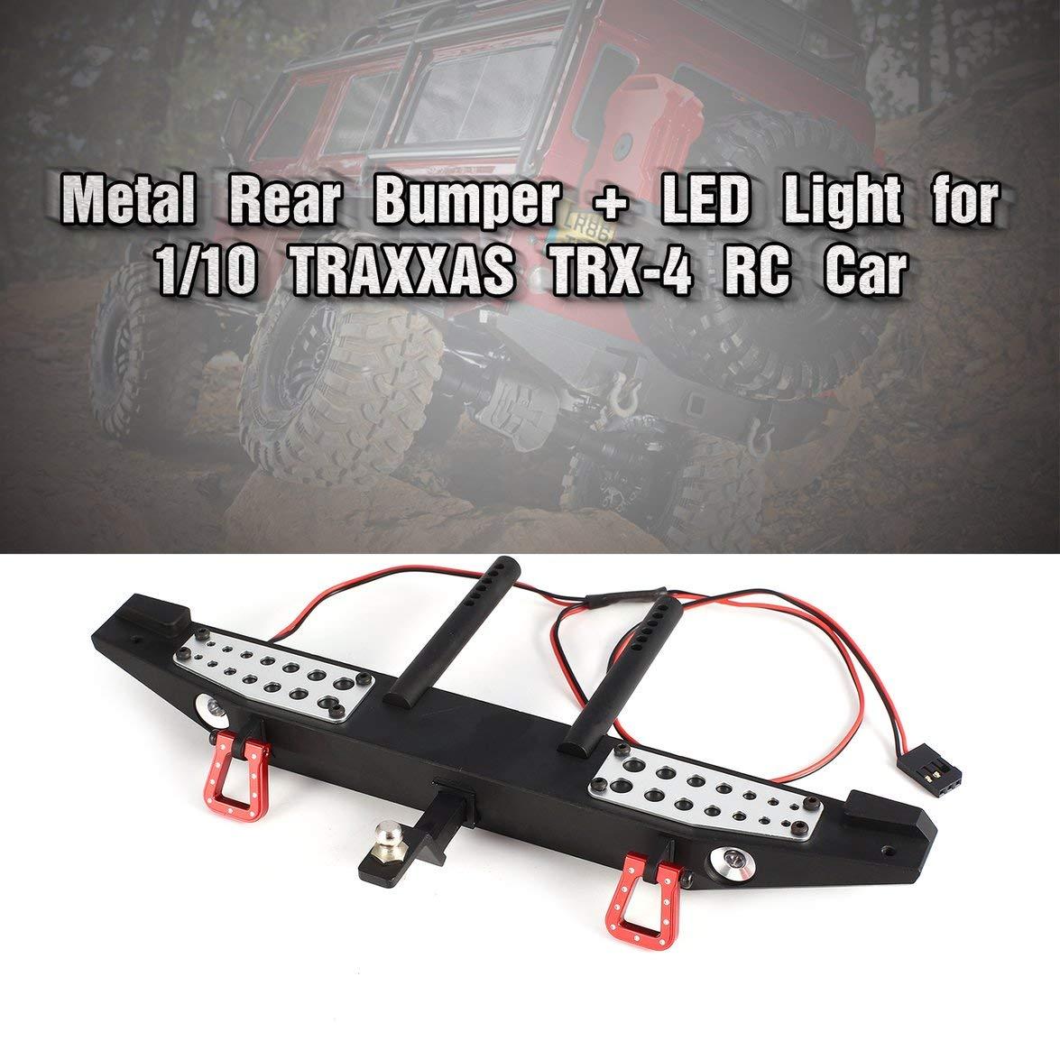 Luz LED Partes de autom/óviles RC Accesorios para escala 1//10 Axial SCX10 Traxxas TRX-4 D90 RC Rock Crawler-Negro-1 Tama/ño Parachoques trasero de metal