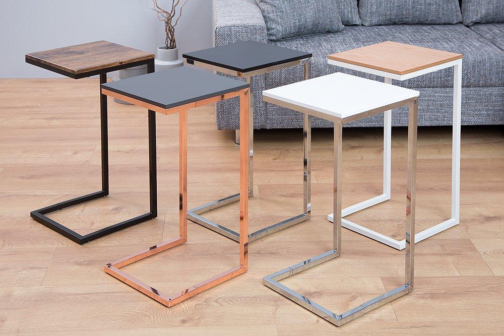 Moderner Design Beistelltisch SIMPLY CLEVER 60cm wei/ß chrom Sofatisch Ablagetisch Wohnzimmertisch Tisch