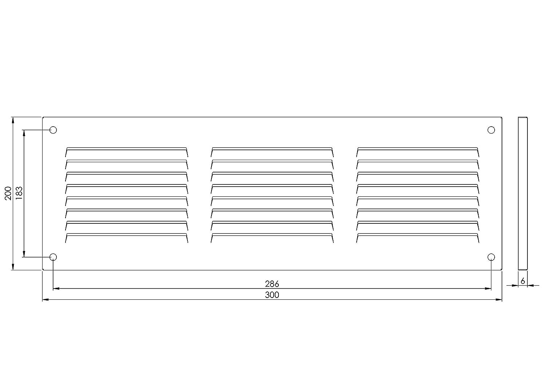 wei/ß mit Insektenschutz MR3020 Wetterschutzgitter 300x200mm Metall L/üftungsgitter Abluftgitter