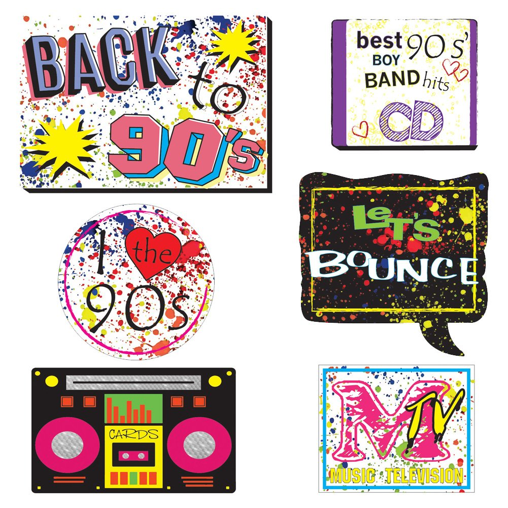 90's Throwback Party Decoration 1990s Party Photo Booth Props Kit 1990's Party Supplies- 37 Count by Hondar (Image #4)