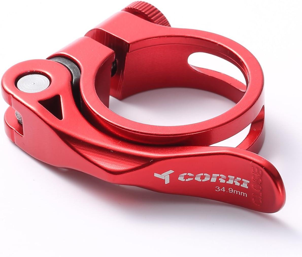 Corki Abrazadera de Aleaci/ón de Aluminio para Asiento de Bicicleta de R/ápido Desenganche 31.8MM//34.9MM