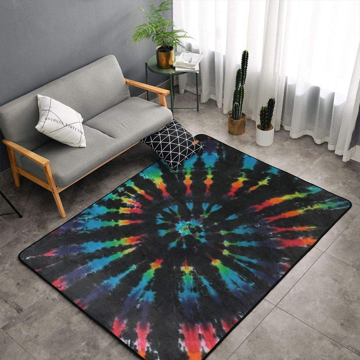 Memory Foam Area Rug for Living Room Playroom Dorm Room, Anti-Slip Backing Floor Pad Rugs Luxurious Throw Rugs Carpet, Ergonomical, Black Tie Dye Shaggy Rugs