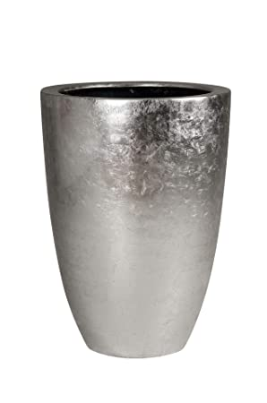 Pflanzkübel Pflanzgefäß Blumenkübel Exklusiv Fiberglas Silber Opala