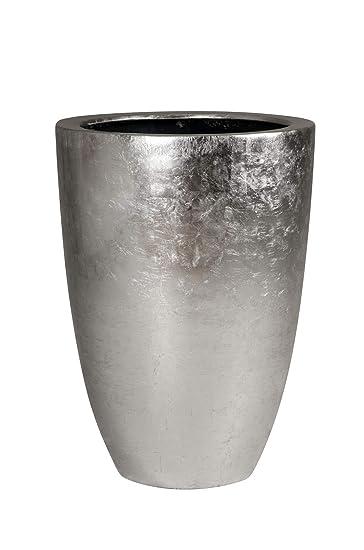 Pflanzkübel Pflanzgefäß Blumenkübel exklusiv Fiberglas Silber \
