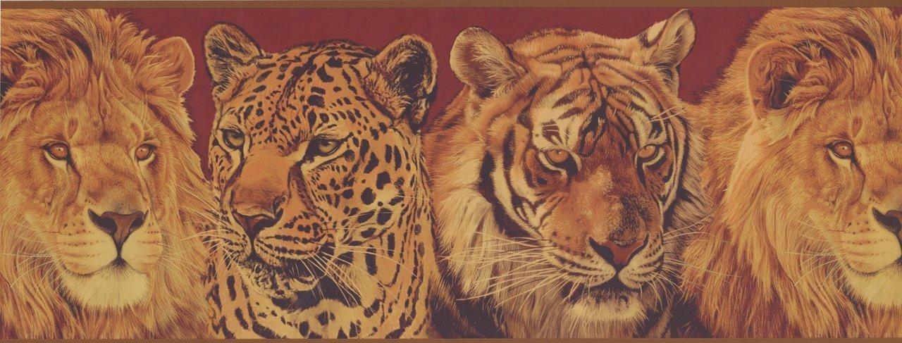 Lion Leopard Tiger Wild Animals BE10612MB Wallpaper Border