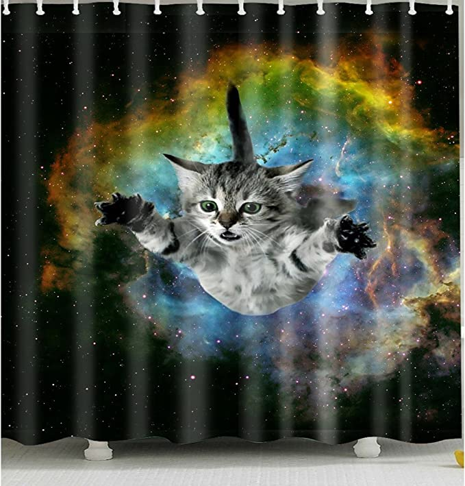 Cat In Galaxy Shower Curtain 1 Pc For Home And Bath Home Kitchen