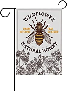 ZZAEO Garden Flag Vertical Polyester Double-Sided Printed Home Outdoor Yard Holiday Decor (12 x 18 inch, Honey Bee Wildflowers)