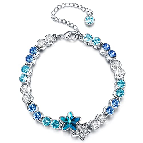 LADY COLOUR Blue Star Link Bracelet for Women 7 2 Extender, Crystals from Swarovski Hypoallergenic Jewelry Gift Box Packing, Nickel Free Passed SGS Test Anniversary Birthday Gifts