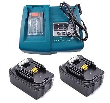 2 piezas 18V 3.0 Ah / 3000 mAh BL1830 + 1 Cargador Li-Ion Herramientas Eléctricas Batería de Repuesto Batería Recargable Compatible para Makita BL1830 ...