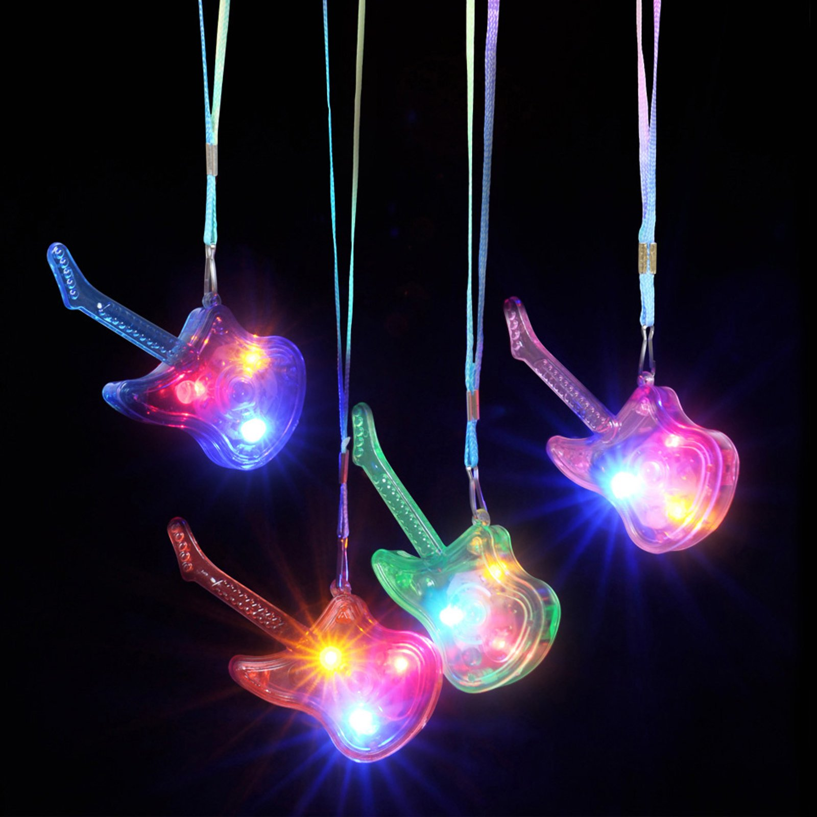 Rhode Island Novelty 3.75'' Light-up Guitar Necklace Childrens Pretend Play
