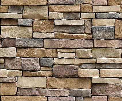 Self Adhesive Retro Brick Stone Textured Wallpaper Effects Blocks