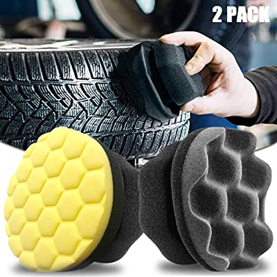 Bigbigjk Tire Shine Applicator Ergonomic Design Tire Brush Tire Dressing Applicator Pad Durable, Keeps Tires Shine, Reusable and Washable, Perfect for Tire Detailing (Black+ Yellow, 2 Stücke): Automotive