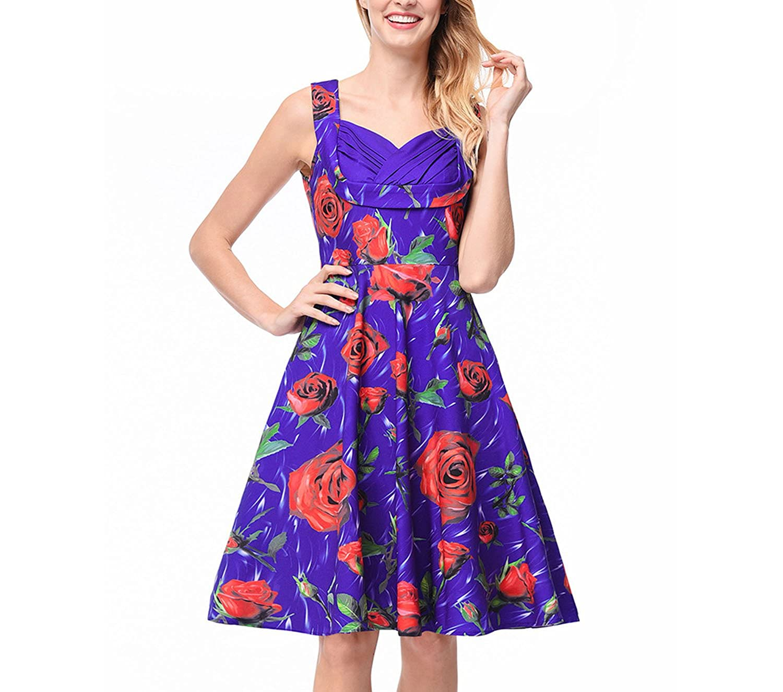 better-caress-Hepburn style sleeveless dress 2018new Womens Rose Printing Hepburn Dress Lapels Buckle Belt Belt Swing Skirt