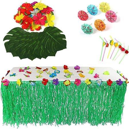 Hamkaw 109 PCS Summer Party Deco Kit 24 Feuilles De Palmier Tropical 24 Fleurs dhibiscus 30 Pailles De Fruits 3D 30 Parapluies Multicolores 1 Jupe De Table Luau