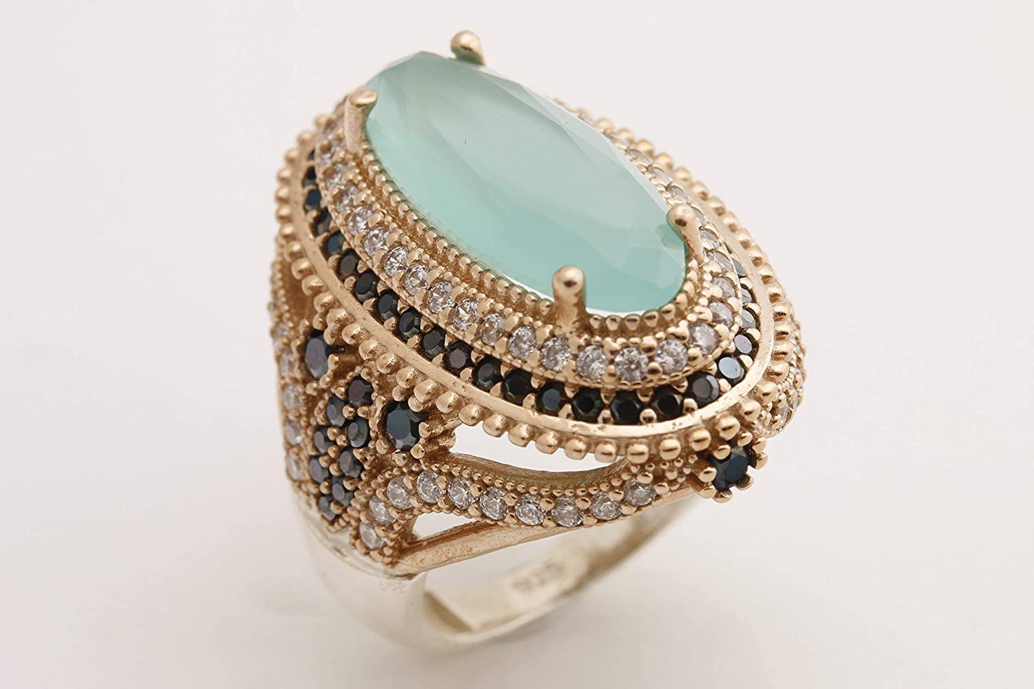 Turkish Handmade Jewelry Long Oval Shape Aquamarine and Round Cut Black Onyx Topaz 925 Sterling Silver Ring Size All Option