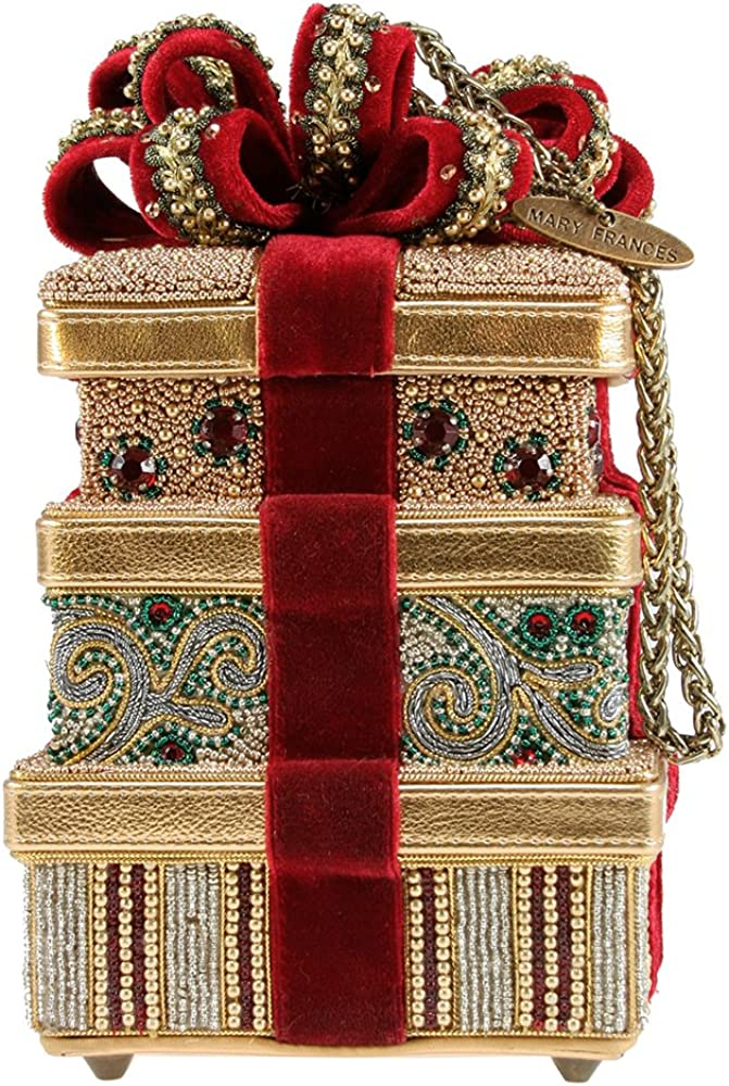 Mary Frances Handbag Holiday In Bloom Beaded Jeweled Christmas Tree Holiday Shoulder Bag