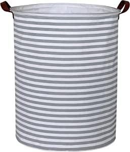 CLOCOR Laundry Basket,Laundry Hamper,Collapsible Storage Bin,Canvas Fabric Clothes Baskets,Nursery Hamper for Home,Office,Dorm,Gift Basket(Grey Lines)