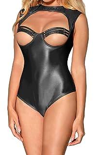 3bfbb698ffa8 MarysGift Wet Look Faux Leather Bodysuit Teddy Lingerie One Piece Plus Size  UK 8 10 12 14 16…