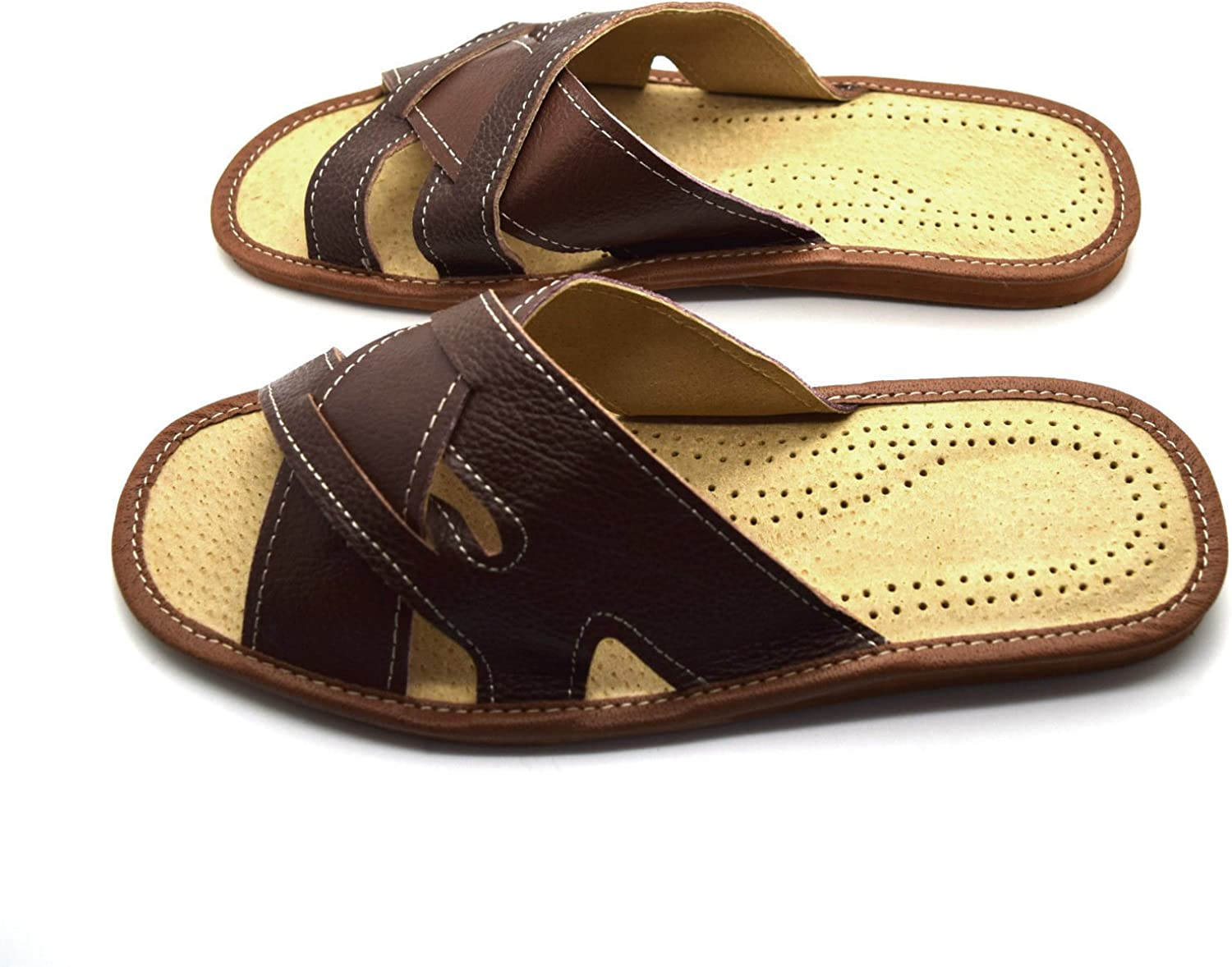 Mens Leather Slippers Slip On Shoes Size 6 7 8 9 10 11 12 UK Mules Sandals