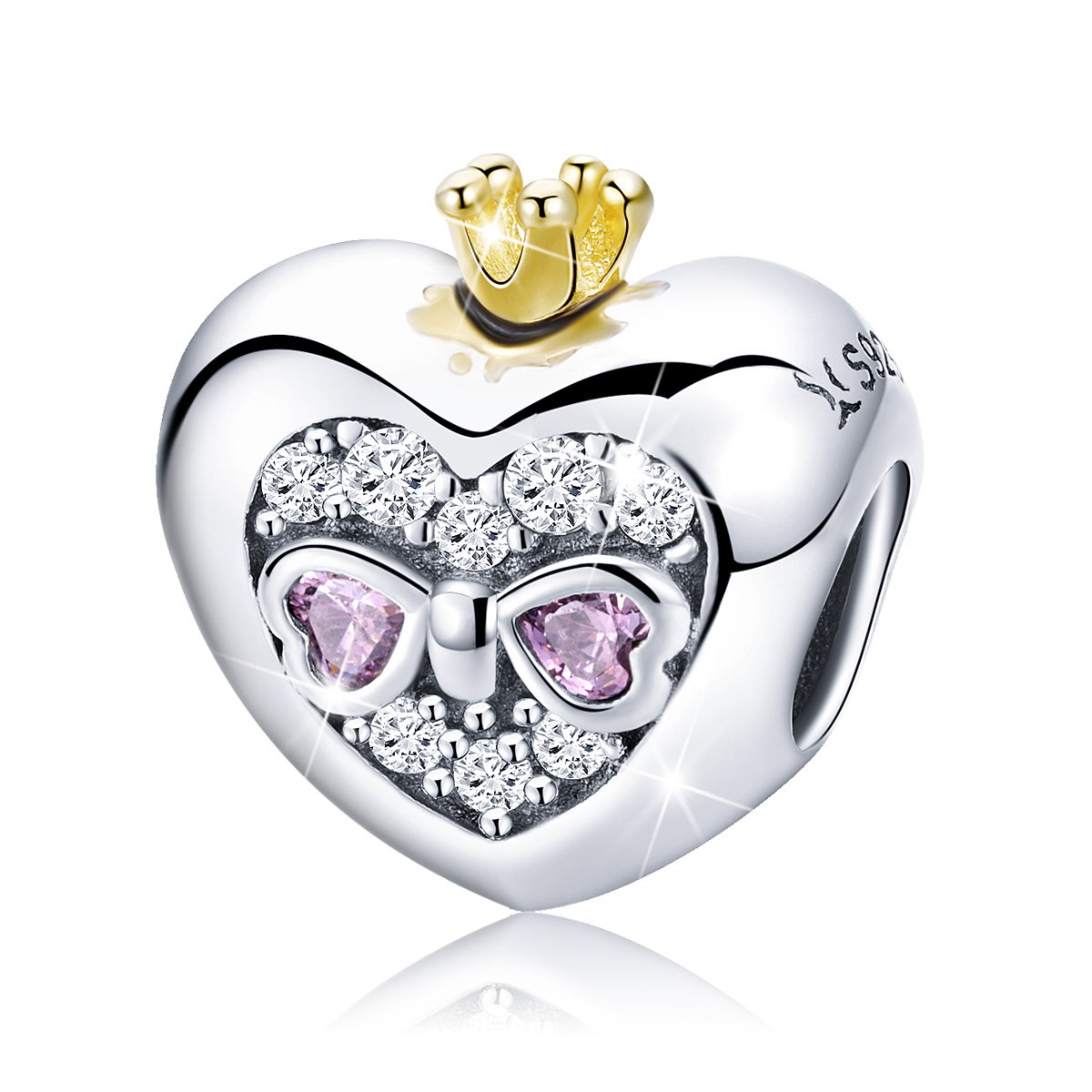 BAMOER Sterling Silver Heart of Princess Love CZ Bead Charm for DIY Snake Chain Bracelet by BAMOER (Image #1)
