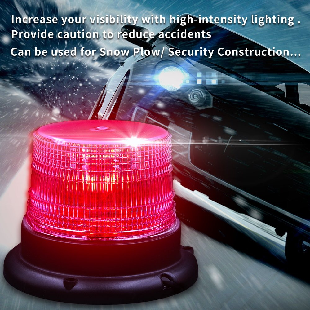 Wireless Led Magnetic Wireless Warning Beacon,Truck Car Vehicle Emergency Hazard High Power Beacon Caution Warning Snow Plow Safety Flashing 25W Strobe Light