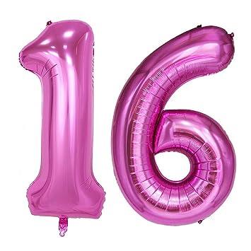Ouinne Globo 16 Años, 40 Pulgadas Globo del Cumpleaños Número 16 Helio Globos para La Decoración Boda Aniversario (Rosa)