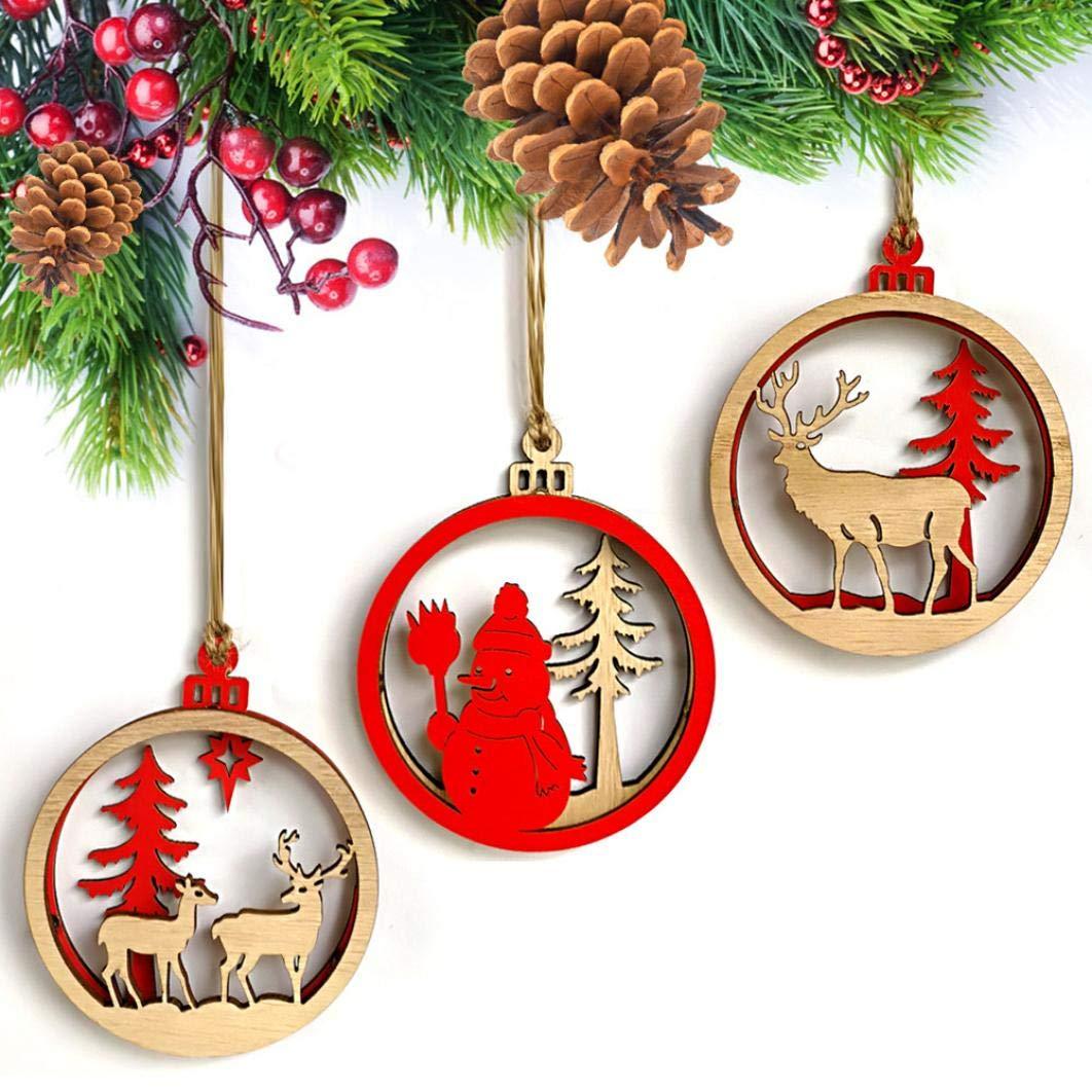 3PCS Wood Christmas Elk Deer Ornaments Xmas Tree Hanging Decoration Pendant Gift