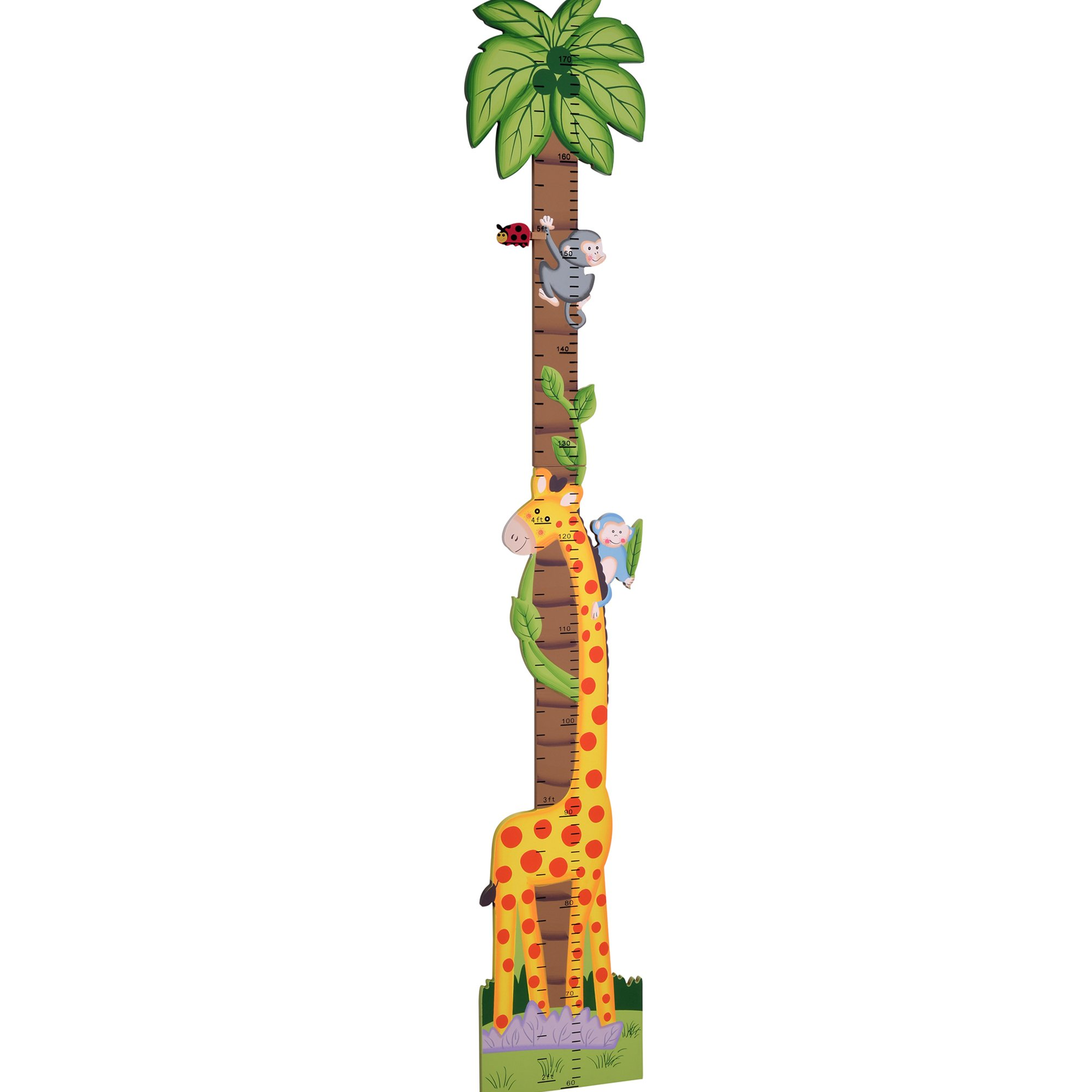 Teamson Design Corp Fantasy Fields - Sunny Safari Animals Thematic Kids Wooden Growth Chart | Imagination Inspiring Hand Painted Details | Non-Toxic, Lead Free Water-based Paint