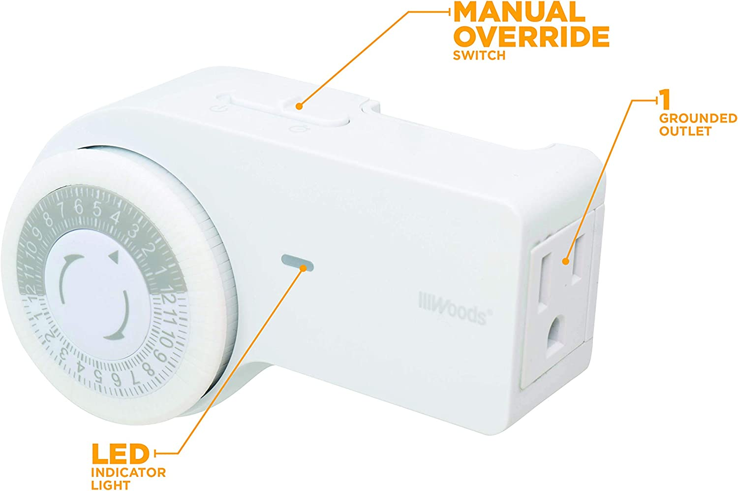 1 Grounded Outlet Standard Body, Woods 50103WD Indoor 24-Hour Heavy Duty Mechanical Timer