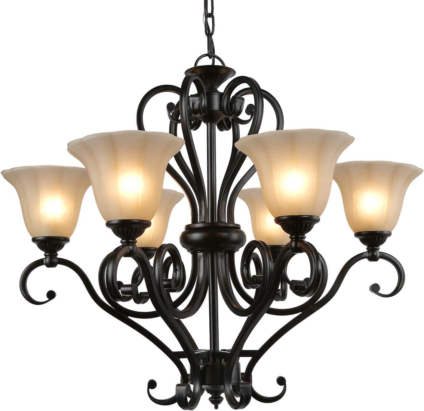LNC 3 light Chandeliers, Antique Chandelier Lighting, Black