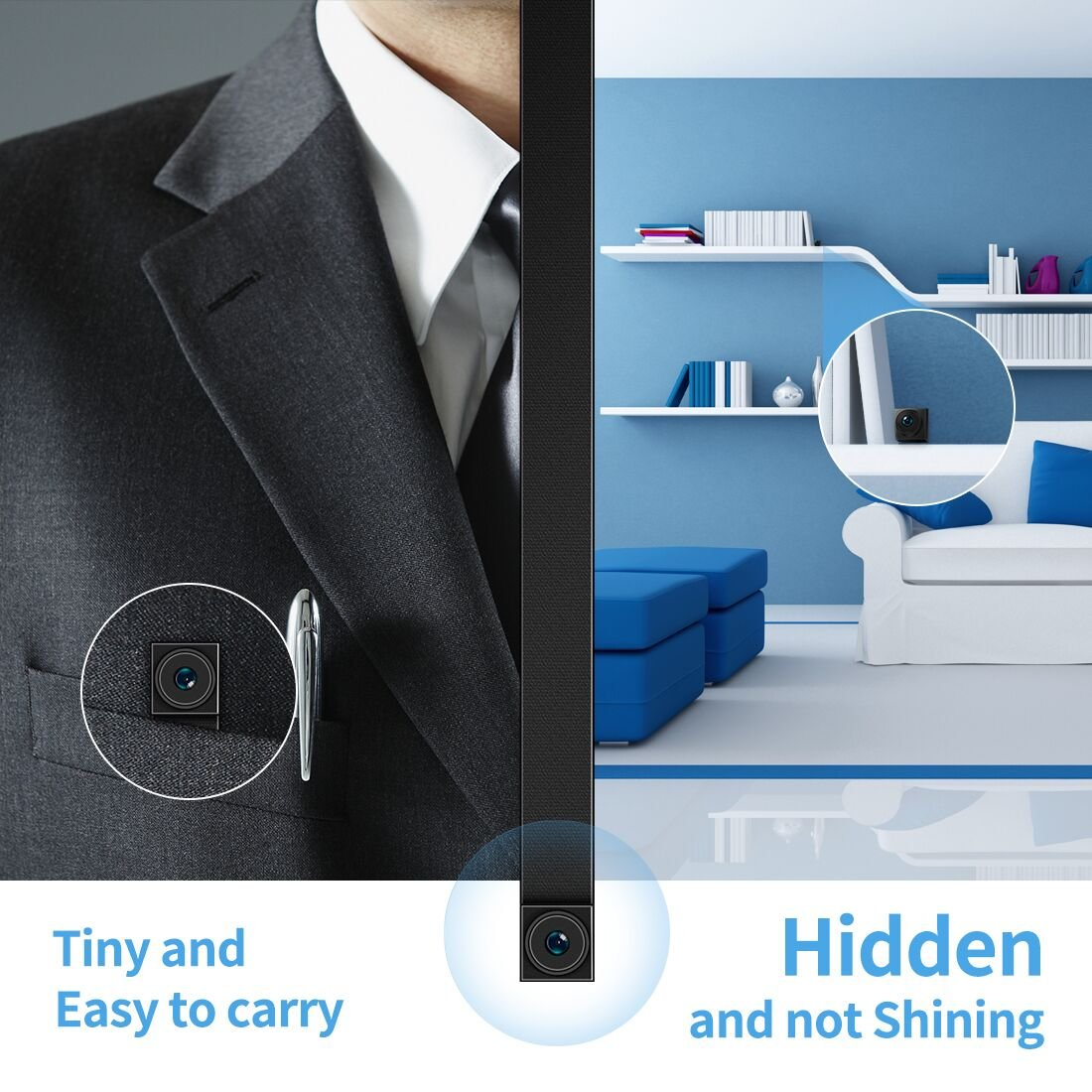 Hidden Camera,FREDI Spy Camera 720P Wireless WiFi IP Cameras Home/Office Security Mini Portable Covert Nanny Cam Works for iPhone iOS/Android mobilephone by FREDI (Image #2)