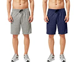 TEXFIT Men's 2-Pack Gym Shorts with Zipper Pockets, Athletic Shorts with Quick Dry Stretch Fabric (2pcs Set)