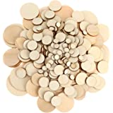 450 Pieces Unfinished Wood Slices Round Wooden Disc Circles Wood Cutouts Ornaments for Craft and Decoration, 5 Sizes