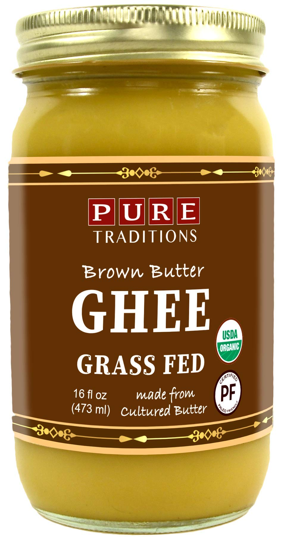 Organic Cultured Brown Butter Ghee, Grass Fed, Casein and Lactose Free (16 oz)