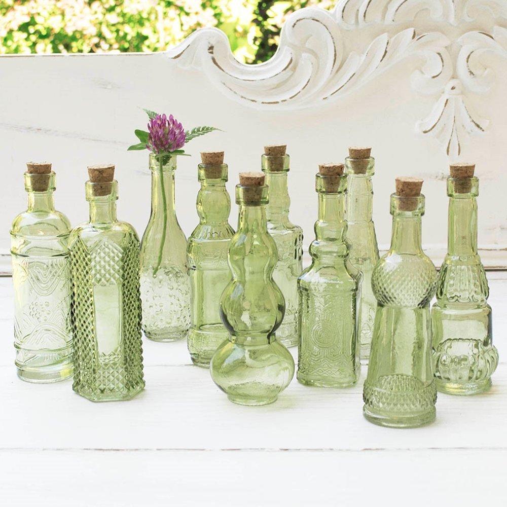 Vintage bud vase set mini glass bottle sets for flowers for Flowers in glass bottles