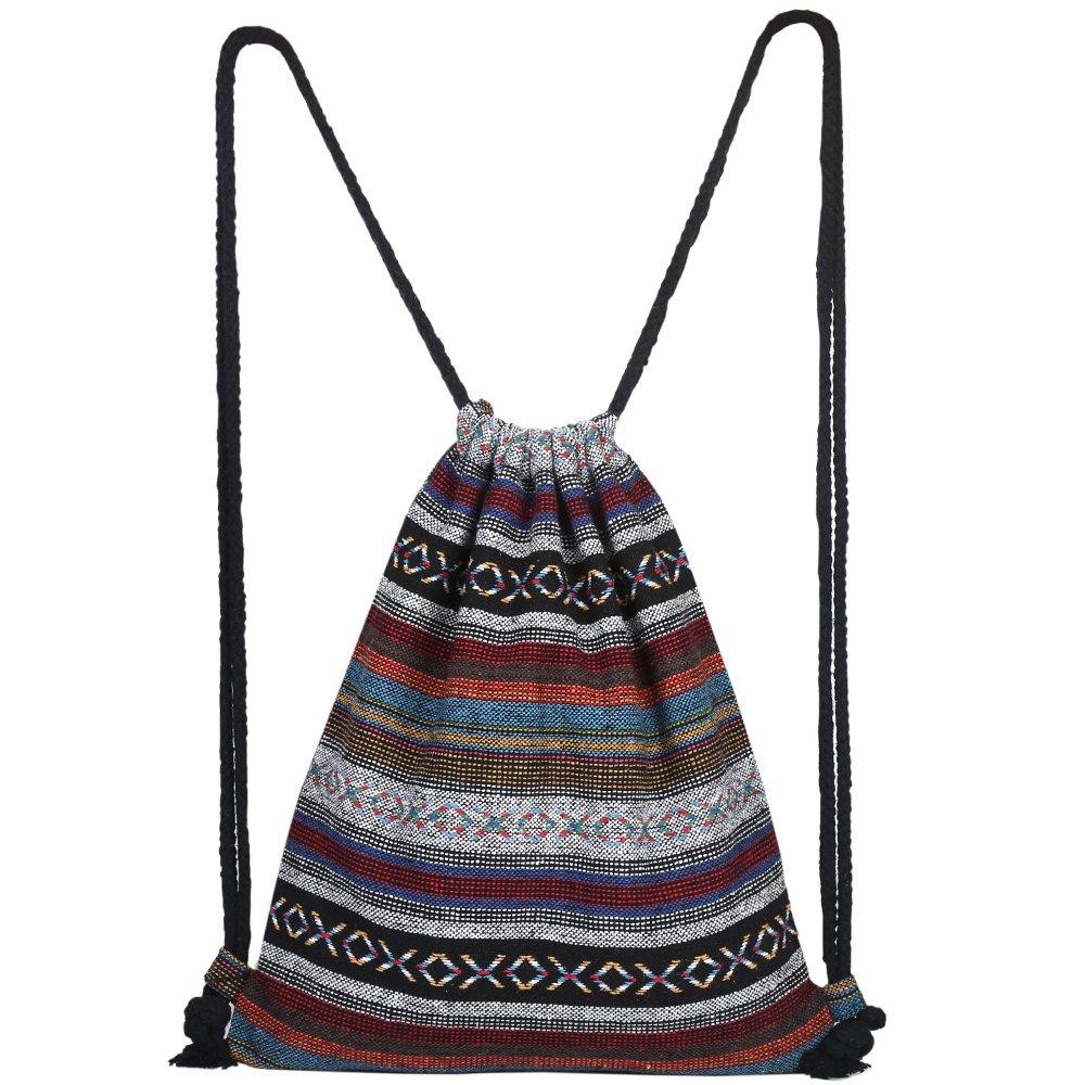 Unisex Canvas Drawstring Bag Ethnic Knit Bohemia Backpack Shopping Sack Bags