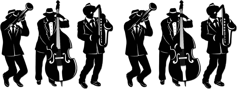 Beistle Jazz Trio Silhouettes 6 Piece, Black/White