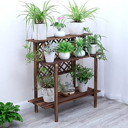 Escalera de 3 Niveles Estantes de Flores/Plantas/Estante de jardín de Madera para macetas de Plantas Estantes/Soporte de Rejilla Estantería de Almacenamiento de jardín Estantería Interior: Amazon.es: Hogar